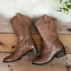 Arturo Chiang Distressed Brown Leather Boots 6